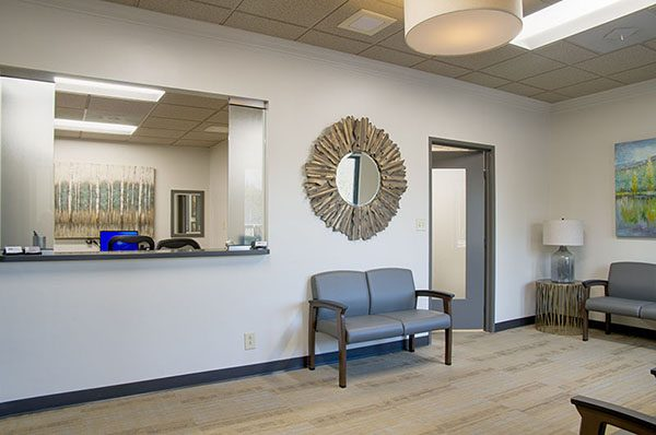The waiting room at Clayton Dental Group